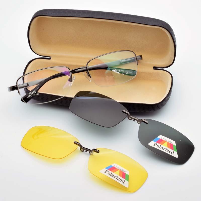 Brýle z lehkých slitin černé pro muže Magnetický klip Brýlová krátkozraká skla Polarizované sluneční brýle Brýle pro noční vidění Jarní závěs