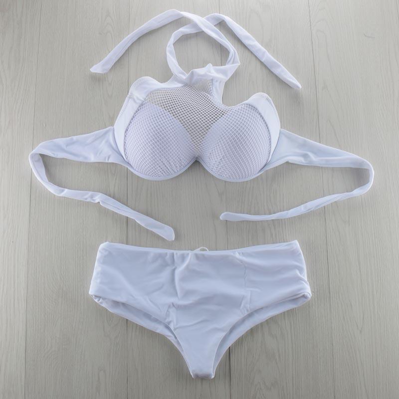 Biqueno`s Secret XXL Push Up Women Bikini Set Swimwear White Bathing Suit Lace Bra Plus Size Strappy Swimsuit Maillot De Bain inc new bright white women s size small s tie front button up blouse $59 461