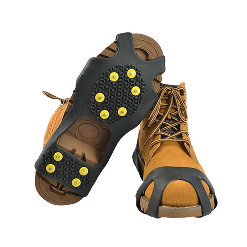 10 Studs Anti-Skid Ice Crampons Snow Shoe Thermoplastic Elastomer Climbing Grips Cleats Over Shoes Covers