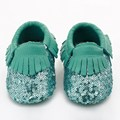 2016 Nueva lentejuelas zapatos de Bebé de Cuero Genuino colores Mezclados Bling Bling Borla Niño mocasines Bebé bebe Primeros Zapatos de Los Caminante
