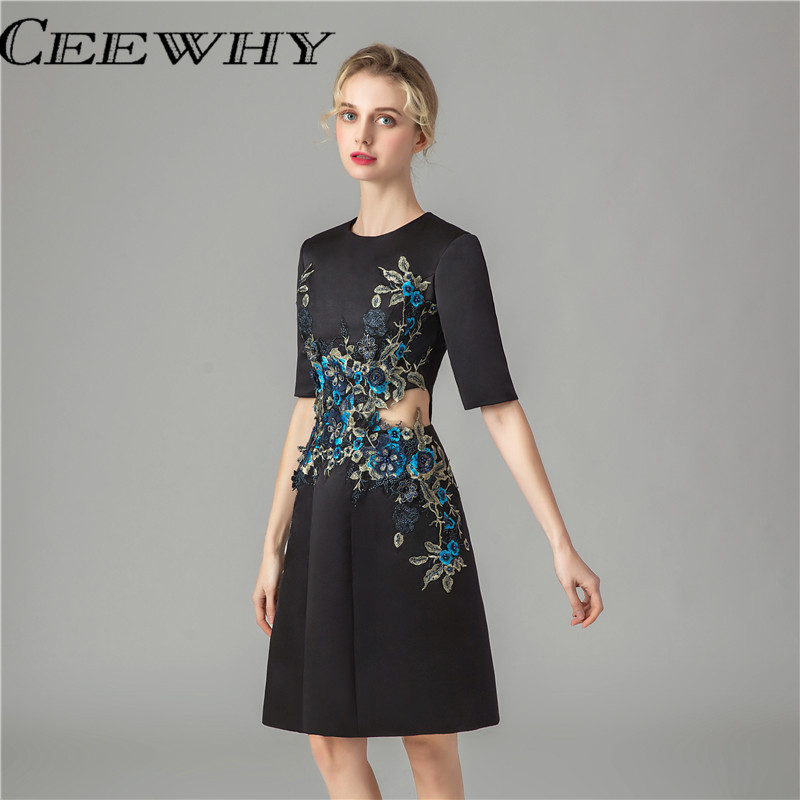CEEWHY Hollow Formal Gowns Short Party   Dress   Knee Length Elegant   Cocktail     Dresses   Embroidery Lace   Dresses   For Mother Of Brides