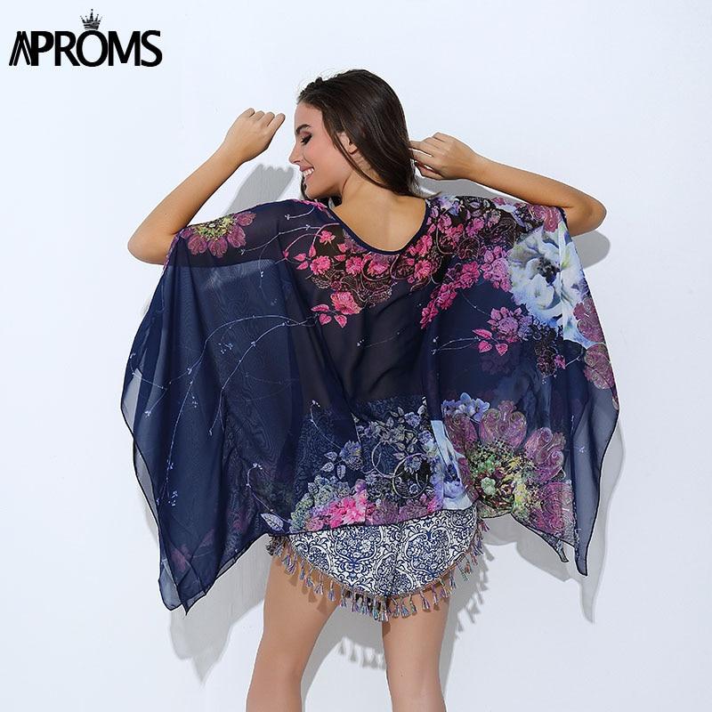 Boho Batwing Sleeve Chiffon Blouse Kvinnor Casual Floral Print Lösa Kimono Shirts Stor Storlek Beach Tunika Toppar Peplum Blusa Robe