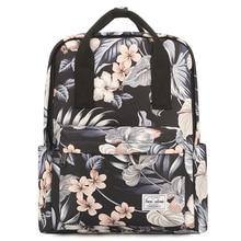 Student Stylish Canvas Backpack Breathable Double Shoulder Rucksack Women Daypack Travel Bag Leaf Printed Bagpack College Sac Do