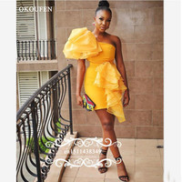 2019 Gold Yellow Short Cocktail Dresses For Women Sexy One Shoulder Ruffles Sheath Mini Prom Dress Party Gown