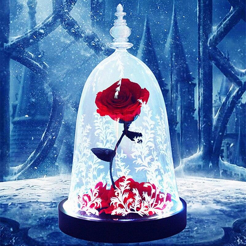 Capable Belle Et La Bête Rose Vie éternelle Fleur Fini Verre Couverture Rose Lumière Led Frais Préservé Rose Fleur Fête Des Mères Cadeau Distinctive Pour Ses PropriéTéS Traditionnelles