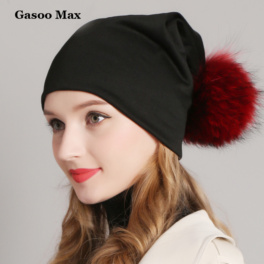 Womens Beanie Hat Casual Cotton Pompom Beanies Hats Raccoon Fox Fur Pompon Skullies Balaclava Caps