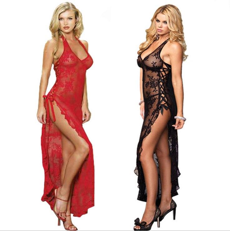 Lace Women Sexy Lingerie Long Dress Sleepwear Plus Size 3XL 4XL Sexy nightgown For Women Nightwear Lady Underwear Lace dress 1