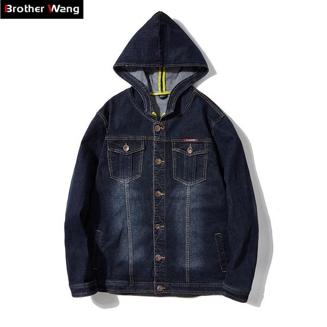 d6ca993518f Плюс размеры Одежда 2019 Весенняя Новинка для мужчин с капюшоном джинсовая куртка  Модные повседневное пальто мужской брендовая