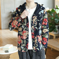 Casual 2019 New Chinese Style Casual Print Flower Jacket Men Clothing With Hooded