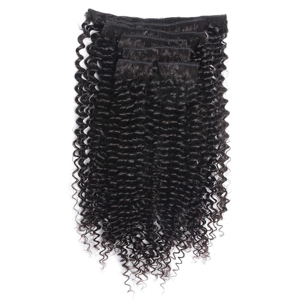 Doreen 毛ブラジル深いカーリー織り Remy 毛クリップ人間の毛延長フルヘッド 120 グラム 160 グラム  グループ上の ヘアエクステンション & ウィッグ からの クリップ ヘアエクステ の中 3
