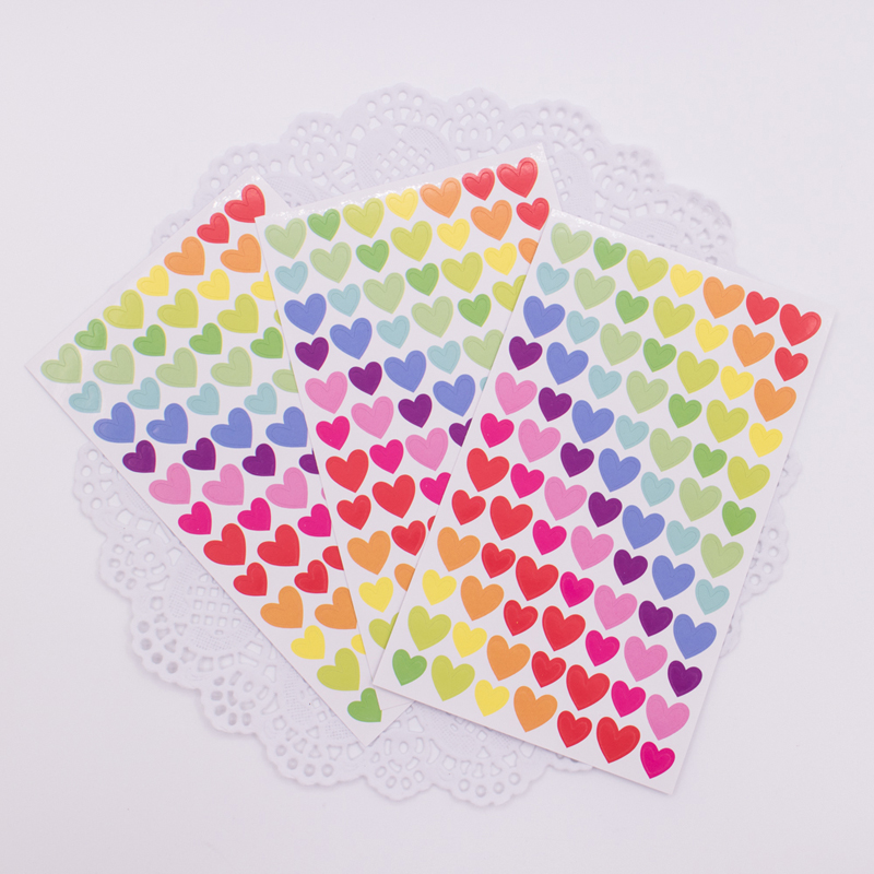 12 Sheets/Lot New Colorful Heart Paper Sticker DIY Multifunction Decoration Stationery Stickers Office School Supplies