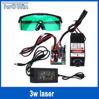 high power 3000mw laser 3w 445NM focusing blue laser module laser engraving and cutting TTL module 3000mw laser tube+googles