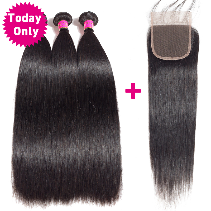 TODAY ONLY Peruvian Straight Hair 3 Bundles With Closure Remy Human Hair Bundles With Closure Peruvian