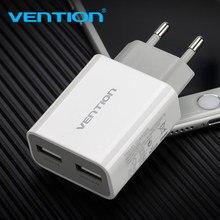 Vention 5V 1A 2.4A แบบพกพาแบบ Dual USB Travel Wall Charger ADAPTER ปลั๊ก EU สำหรับ Samsung S8 iPhone 8 X Xiaomi 8 ชาร์จโทรศัพท์มือถือ