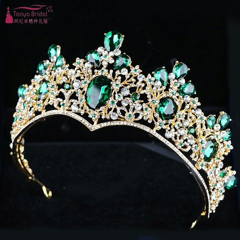 Emerald Noble Crown Headdress 2019 New Alloy Fine Atmosphere Bridal Headdress Crown DQG669