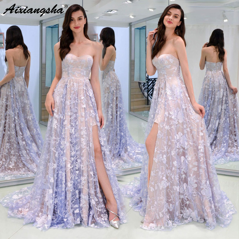 Prom     Dresses   Long 2019 Women's A-line Sweetheart Sleeveless Leg Slit Sexy Purple Backless Special Occasion Party Gown Gala   Dress