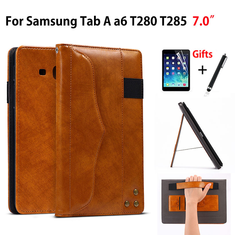 Cas Pour Samsung Galaxy Tab UN a6 7.0 2016 T280 T285 SM-T280 SM-T285 7.0 Couverture Funda Tablet Main Titulaire stand Shell + Film + Stylo
