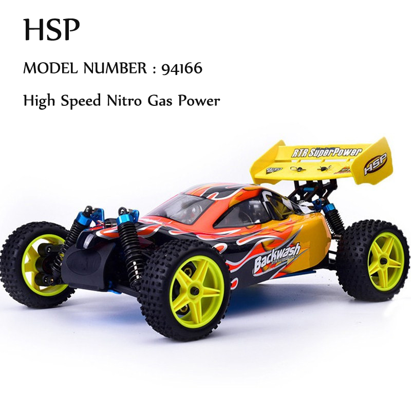HSP Rc Car 1/10 Nitro Power Off Road Buggy 4wd Remote Control Car 94166 Backwash Two Speed High Speed Hobby Similar REDCAT 02023 clutch bell double gears 19t 24t for rc hsp 1 10th 4wd on road off road car truck silver