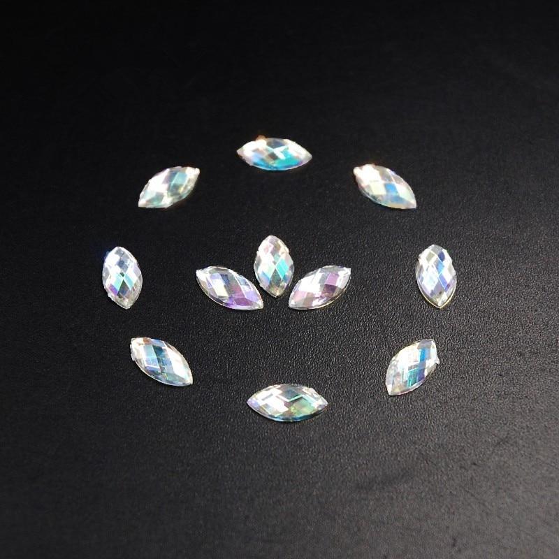 1000pcs High quality 3X6mm Clear AB Flatback Acrylic Horse Eye Shape Rhinestone Gems No Holes for Clothes Shoe Craft