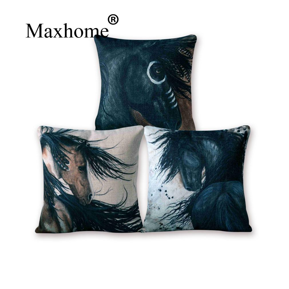 american hand painted cotton linen pillowcase beautiful horse cushion decorative pillows home. Black Bedroom Furniture Sets. Home Design Ideas
