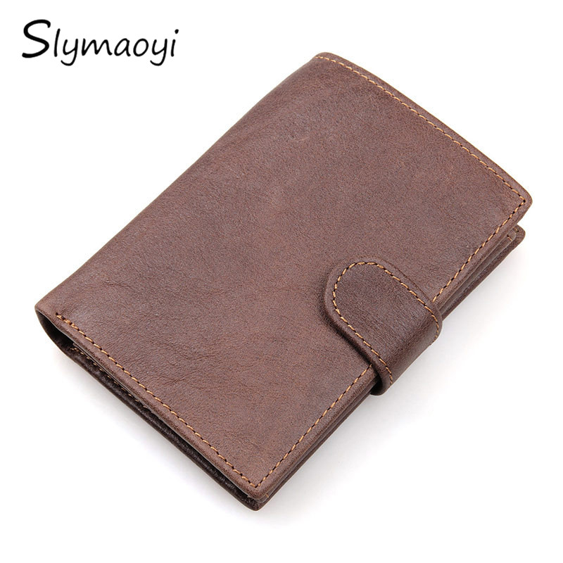 Genuine Cowhide Leather Men Wallet Short Coin Purse Multi-card Bit Wallets Brand High Quality Dollar  Vintage Male Card Holder flying birds 2016 wallet leather purse dollar price men bags wallets card holder coin purses short wallet men s bag lm3421fb
