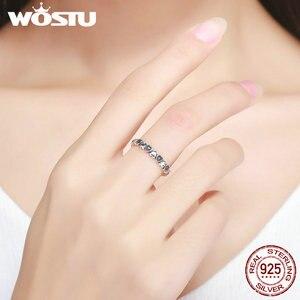 Image 3 - WOSTU/женское штабелируемое кольцо из стерлингового серебра 925 пробы с надписью «Love навсегда» сердце, черный фианит, хорошее Брендовое украшение в подарок CQR140