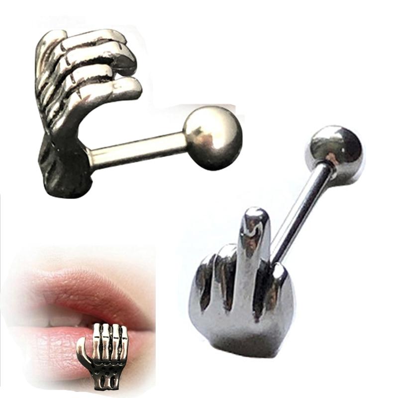 Surgical Steel Middle Finger Helix Tragus Cartilage Barbell
