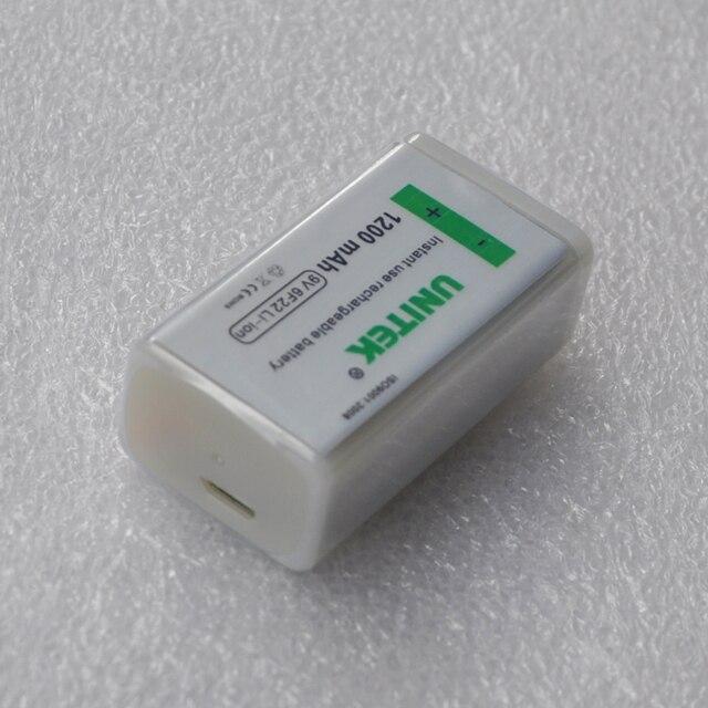 1pc UNITEK usb rechargeable battery 1200mAh 6F22 lithium cell 9v battery for microphone Guitar EQ smoke alarm multimeter