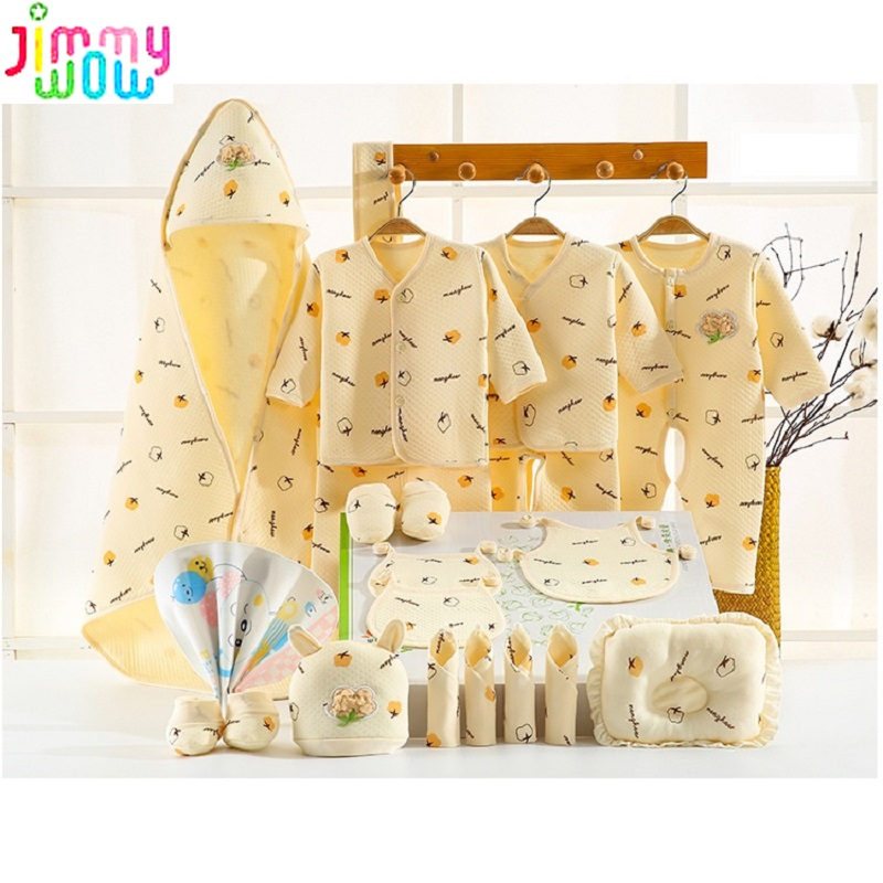 21 Pieces set Newborn Baby Clothes pants rompers cap burp cloths baby bebes kids 0-6months Organic cotton thick clothing sets