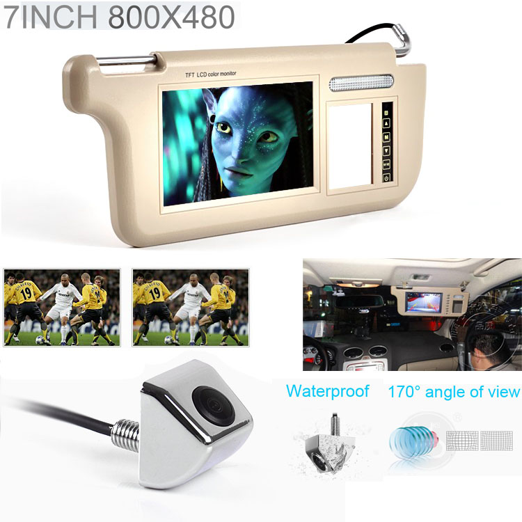 Touch 7inch Car Sun visor DVD/TV Media Screen&Rear View Silver Backup Monitor/Camera kits touch 7inch car sun visor dvd tv media screen&rear view silver backup monitor camera kits