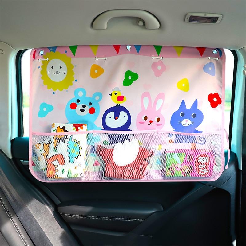 Автомобильная мультяшная занавеска, защита от солнца, автомобильная шторка, боковая Блокировка, растяжимый солнцезащитный козырек, тканевая занавеска для малышей, детей#2