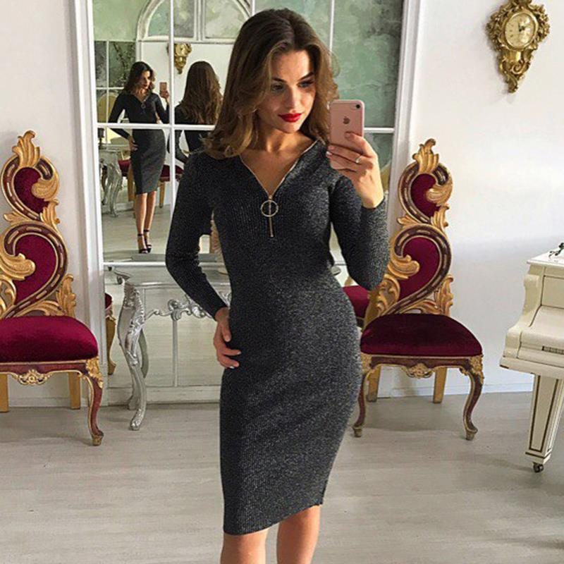 Women Dress Slim Elastic Sexy V Neck Zipper Sweater Knitted Dresses Lady Bodycon Dresses WS4027E