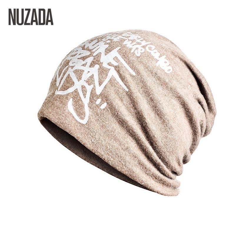 Brand NUZADA Letter Hedging Cap Men Women Skullies Beanies Knitting Knitted Caps Bonnet Double Layer Cotton Hat Autumn Winter