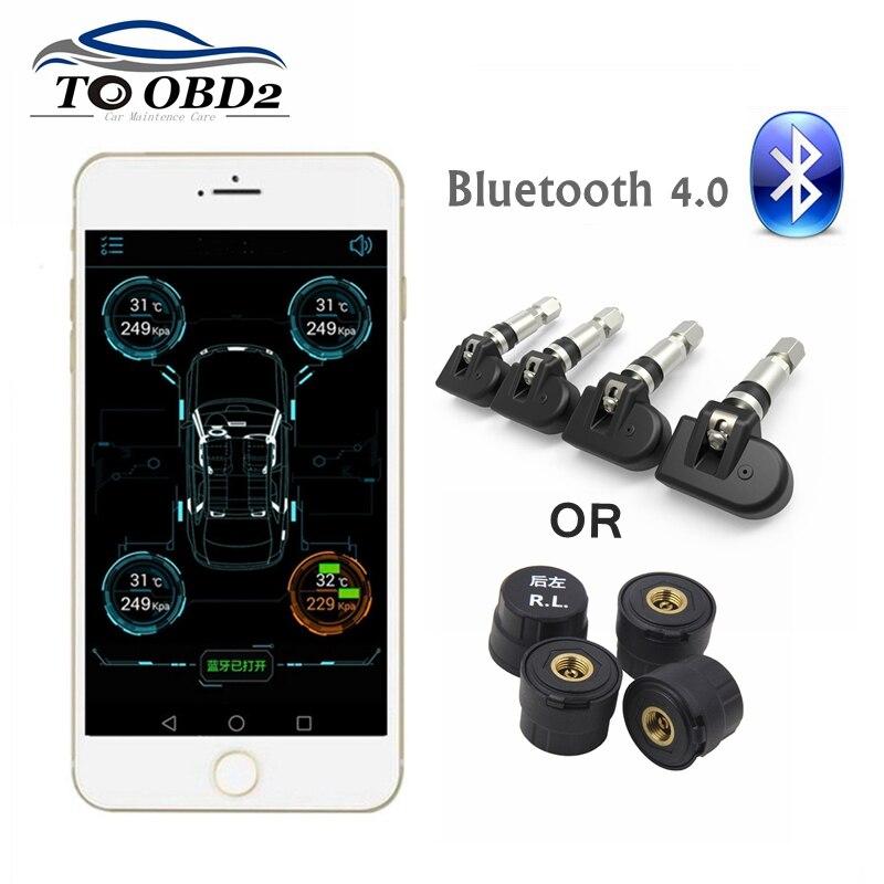 Novo sistema de monitor pressão dos pneus tpms bluetooth 4.0 4 interno/externo sensor funciona android/ios telefone móvel app exibição