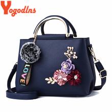 Yogodlns PU Leather Bags for Women  Shoulder Bag flower Solid color bag feminina Handbag crossbody leather bag