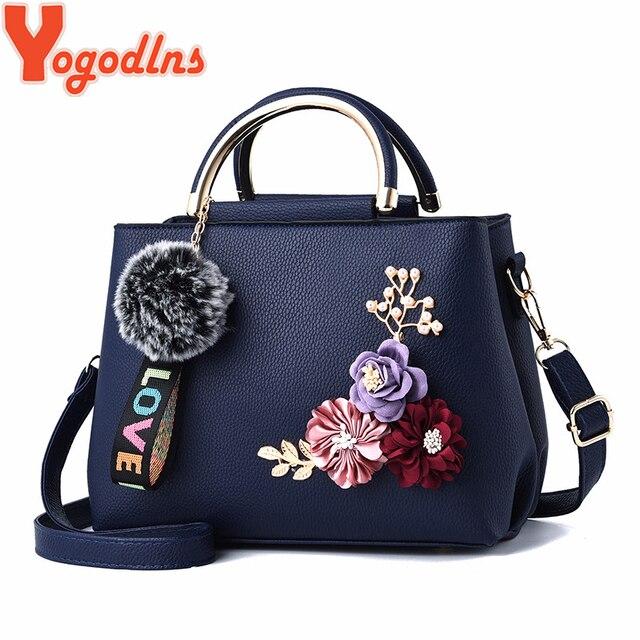 0d022280fe Yogodlns PU Leather Bags for Women Shoulder Bag flower Solid color bag  feminina Handbag crossbody leather bag