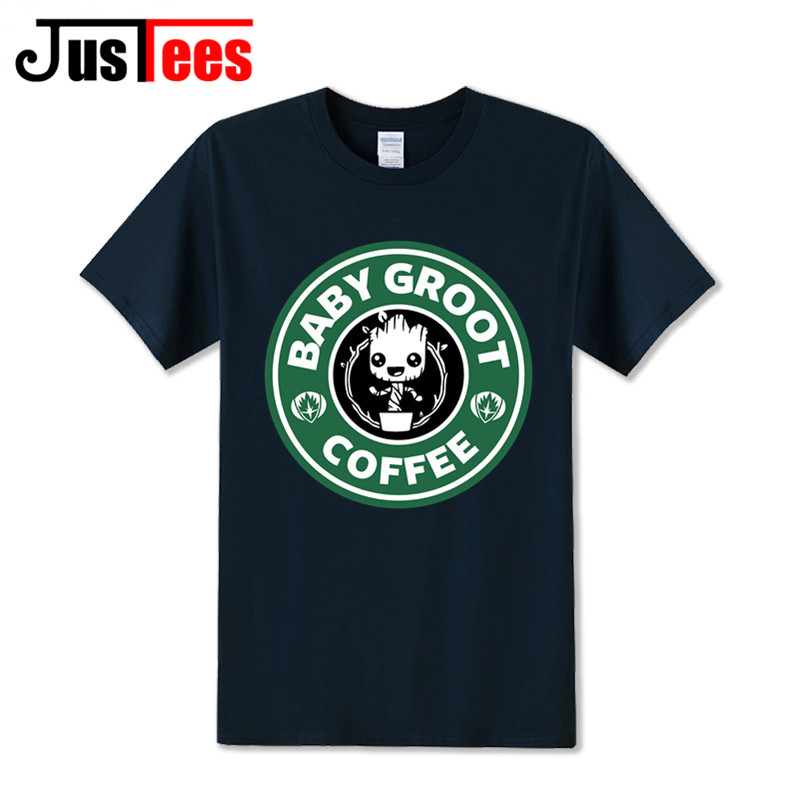Baby Coffee Funny T Shirts Men Hombre Custom Design Short Sleeve O Neck Cotton Guardians Of The Galaxy T-Shirt Homme