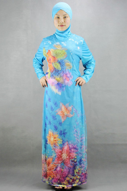 bd79691f87e Haute qualité musulmane femme robes de prière vêtement islamique ethnique à  manches longues bleu violet vert
