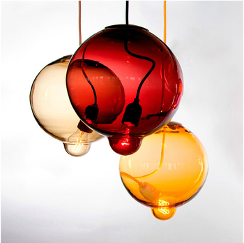 25CM Colorful Glass Bubble Pendant Lamp Dining Room Bar Indoor Hanging Light Restaurant Bar Coffee Shop
