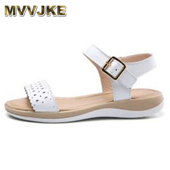 ee5a4a4f MVVJKE sandalias de mujer 2018 Sandalias planas de cuero genuino de verano  Sandalias planas cómodas suaves