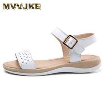 Sandalias de mujer MVVJKE, sandalias suaves cómodas planas de cuero auténtico para verano 2018, Sandalias planas para mujer, sandalias de gladiador blancas