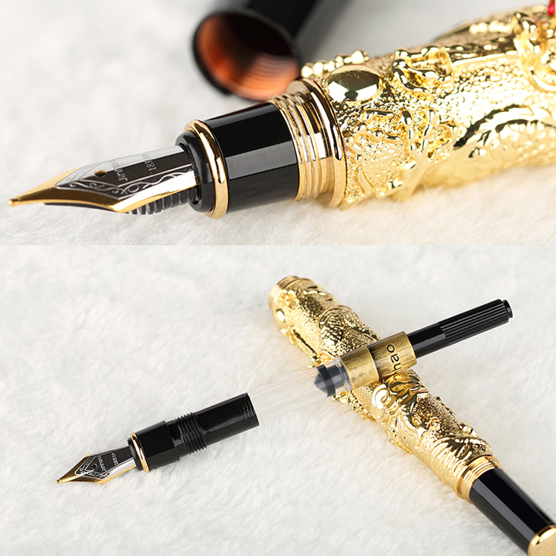 High Quality NOBLE GOLDEN FINE NIB FOUNTAIN PEN DRAGON EMBOSSED full metal luxury Ink pens Caneta Stationery Office school 03842 dikawen 891 gray gold dragon clip 0 7mm nib office stationery metal roller ball pen pencil box cufflinks for mens luxury