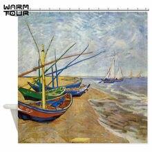 Warm Tour Van Gogh Fishing Boats Decorative Shower Curtain Polyester Fabric Waterproof Mildew Resistant Bathroom WTC057