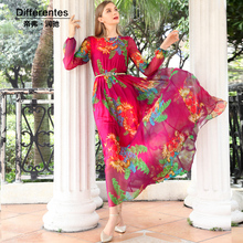 Silk dress 2017 spring and summer expansion bottom slim fashion long sleeve print women's clothing plus size silk full dress