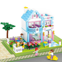 Sluban 539Pcs Princess Series Blue Garden Villas Girl Motorcycle Educational Toys Figures Compatible With Lepin
