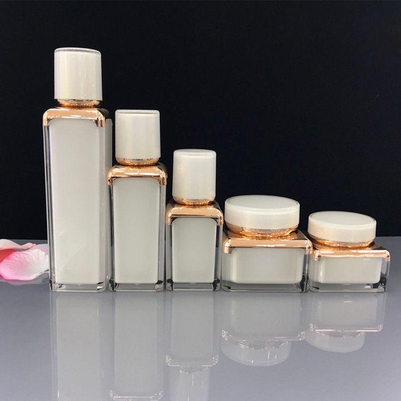 Premium Square White/Gold Cosmetics Sub Acrylic 15/30/50ML Lotion Pump Bottle,Classic 30/50G Acrylic Cream Jar 5PCS 1Suit Premium Square White/Gold Cosmetics Sub Acrylic 15/30/50ML Lotion Pump Bottle,Classic 30/50G Acrylic Cream Jar 5PCS 1Suit