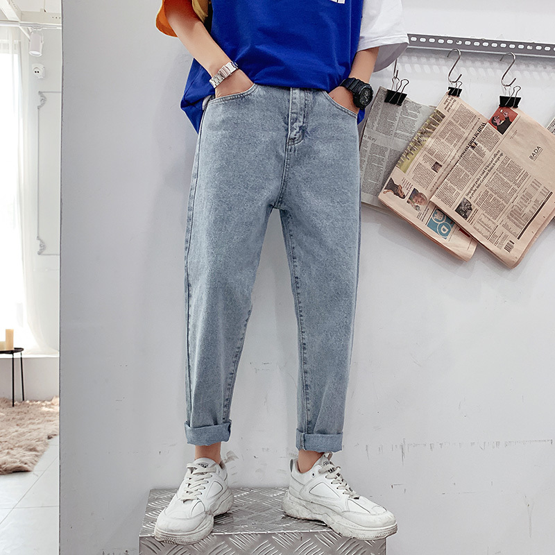 2019 Summer Men's Fashion Stretch Slim Fit Jeans Straight Full Length Casual Pants Classic Style Blue Color Trousers Size M-3XL