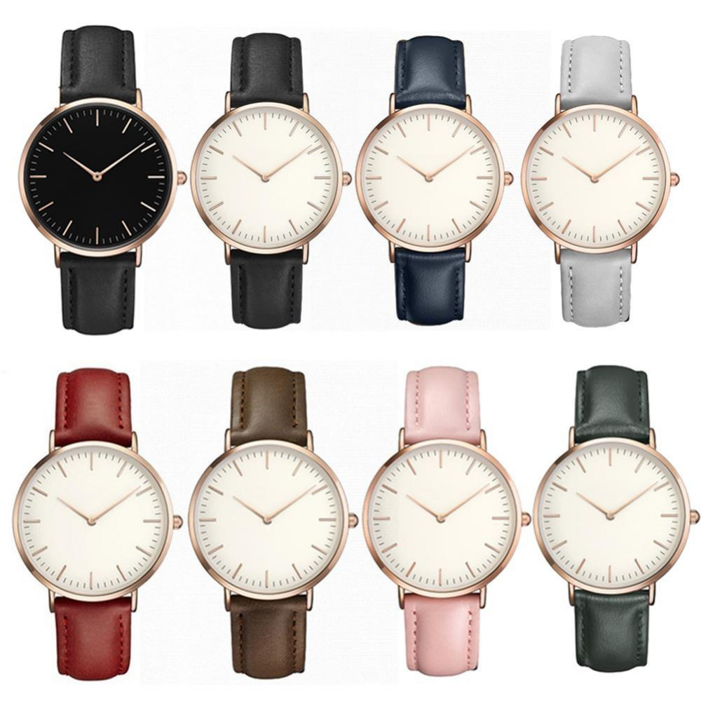 Hot Retro PU Leather Band Analog Quartz Wrist Watch Clock Simple Casual Women Men Watches Ladies Minimalist Leather Strap Watch fashion brand women casual simple chain quartz wristwatches analog dial watch band casual chain wrist watches clock for girls