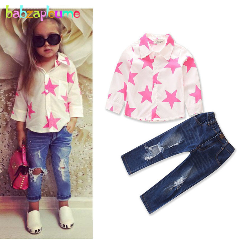 2Piece Spring Autumn Girls Outfits For Kids Fashion Clothes Long Sleeve Baby T-shirt+Hole Jeans Children Clothing Sets BC1747-1 1