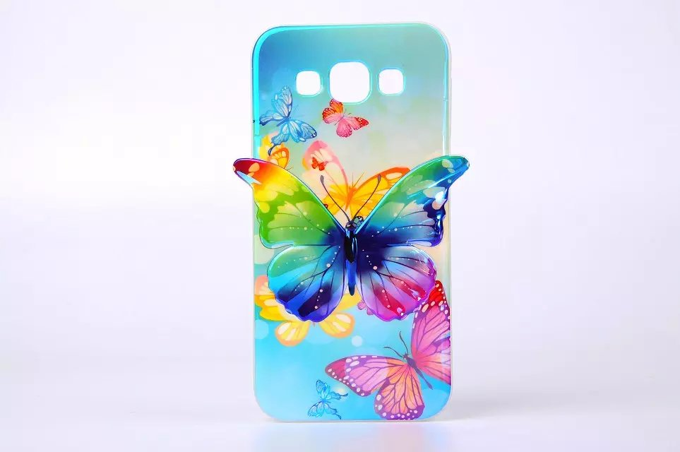 Samsung Galaxy E5 E500 Phone Cases, Blue-ray 3D Nice Butterfly IMD TPU Soft Cover Shell - Lemonlan Co.,Ltd store